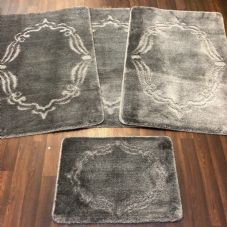 ROMANY WASHABLES GYPSY MATS 4PC SETS NON SLIP FRAME DESIGN CHARCOAL GREY RUGS